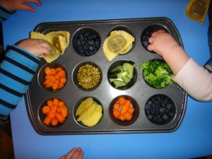 muffin tray with veggies