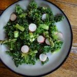 Kale, Radishes, Asparagus, Nutritional Yeast Salad