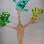 handprints painted on tree for fathers day gift