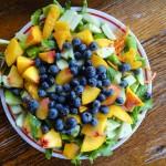 Crunchy Peach and Blueberry Salad With Orange Vinaigrette