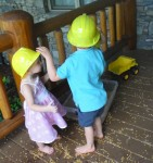 wearing construction hats