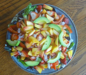 Strawberry Peach Avocado Salad