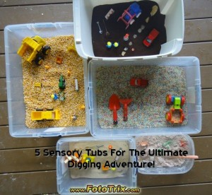 five sensory tubs