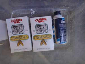 2 boxes of cornstarch and 1 bottle of shaving cream