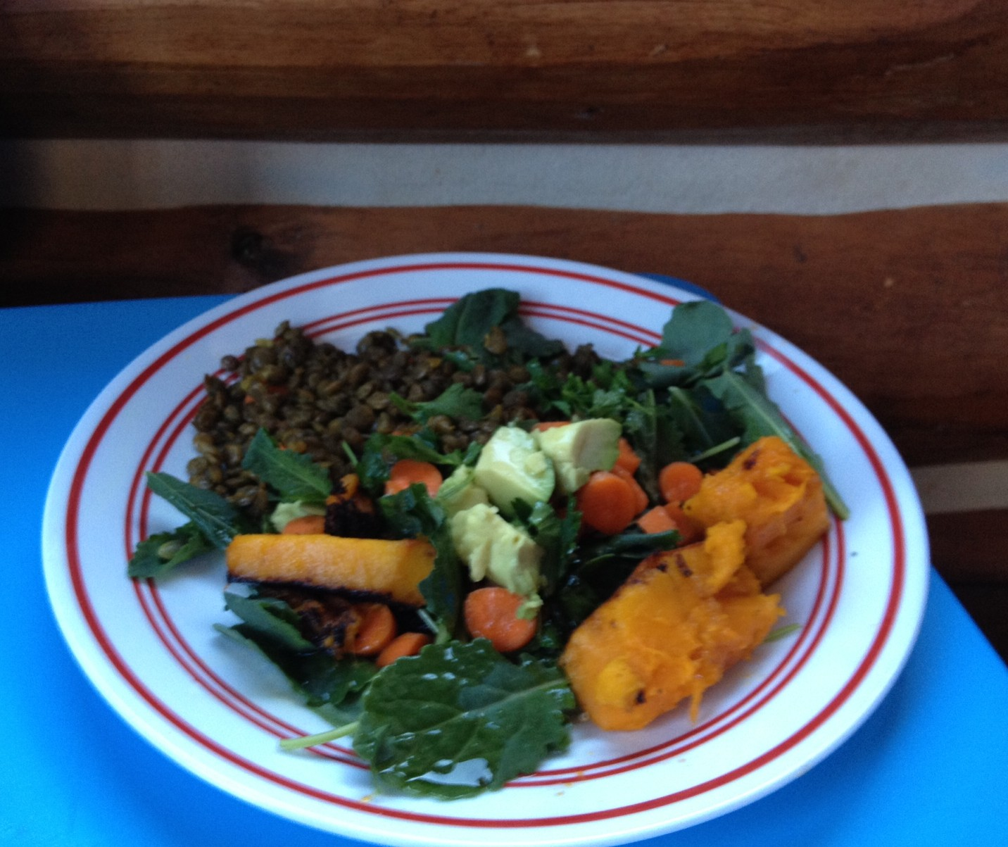 Roasted pumpkin salad with spicy lentils, kale and avocado
