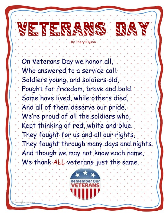 Veteran's Day Poem for Preschool