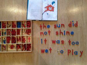 montessori movable alphabet work