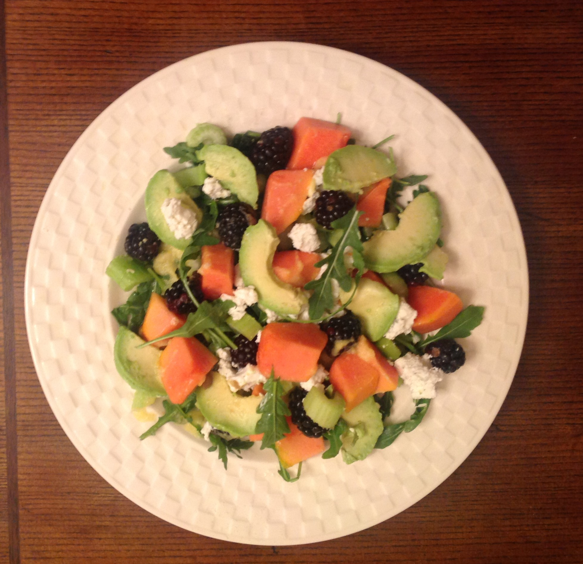 Papaya, Blackberry, Avocado Salad With Pineapple Dresisng | Healthy ...