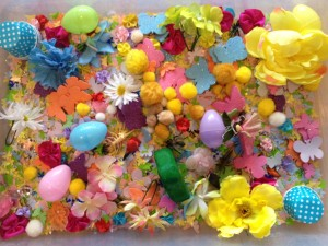 easter and spring sensory tub