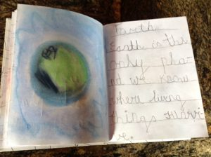 Homemade book about the solar system for preschool, kindergarten