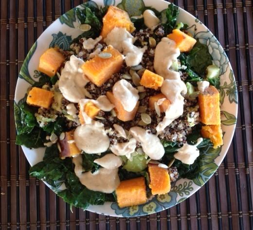 Kale, Sweet Potato, Quinoa, Tahini Salad vegan and gluten -free