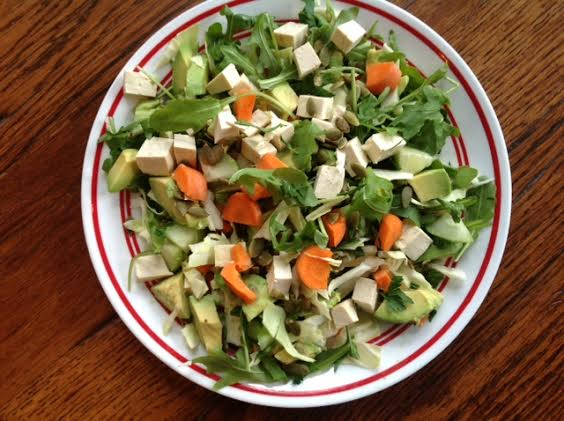 Raw Vegan Crispy, Crunchy Salad With Pumpkin Seeds And Tangy Apple Dressing