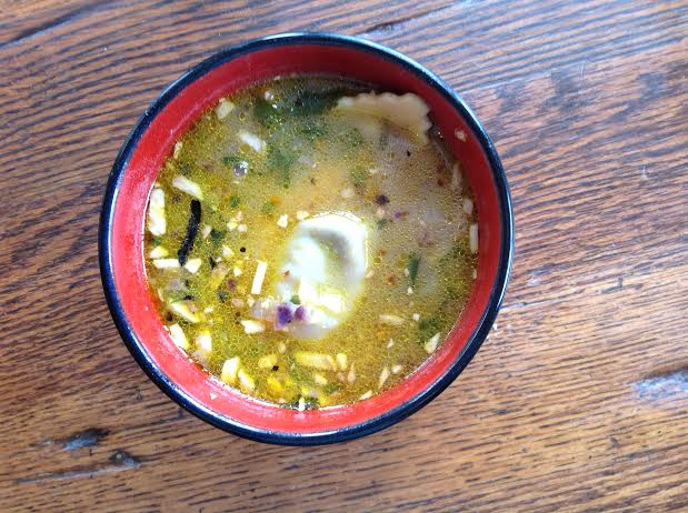 Chickpea Miso, Vegetable Ravioli Soup, vegan