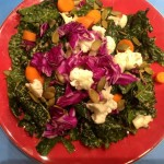 Healthy Kale and Purple Cabbage Salad with Non-Dairy Cheese Sauce