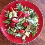 Fresh Strawberry, Kale, Pine Nuts Salad, vegan