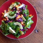 Simple Rainbow Salad with Cumin Vinaigrette Dressing