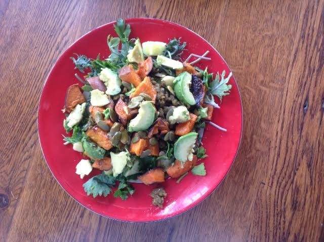 Spicy Lentil and Roasted Sweet Potato Salad