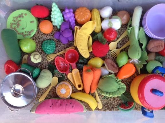fruits and vegetables sensory tub healthy mama info