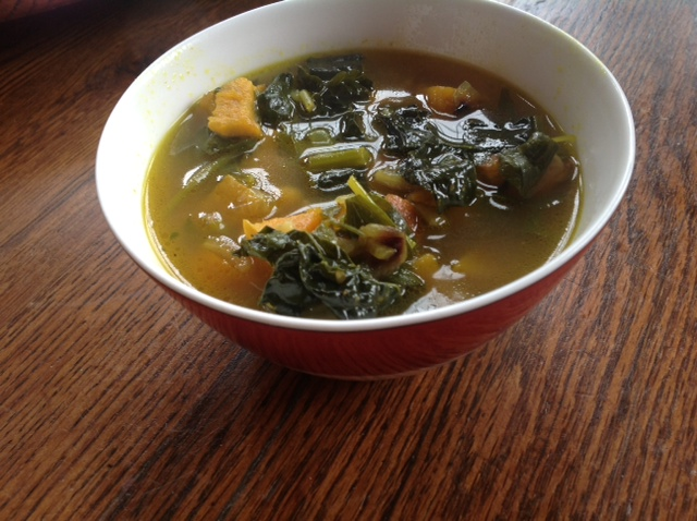 Kale, Butternut Squash and Garlic Soup