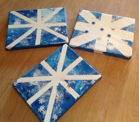 Easy Winter Snowflake Canvas Art Healthy Mama Info